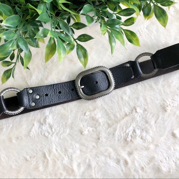 Accessories - Women's black western leather belt silver small